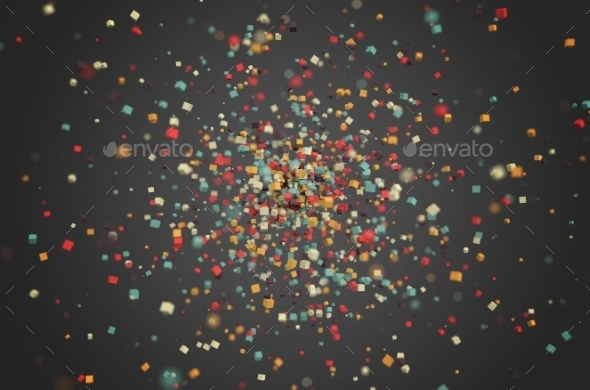 Abstract Rendering Of Colored Chaotic Particles. - 3D Backgrounds