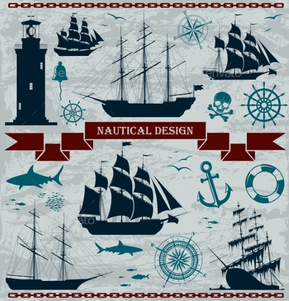Set of Sailing Ships with Nautical Design Elements - Travel Conceptual