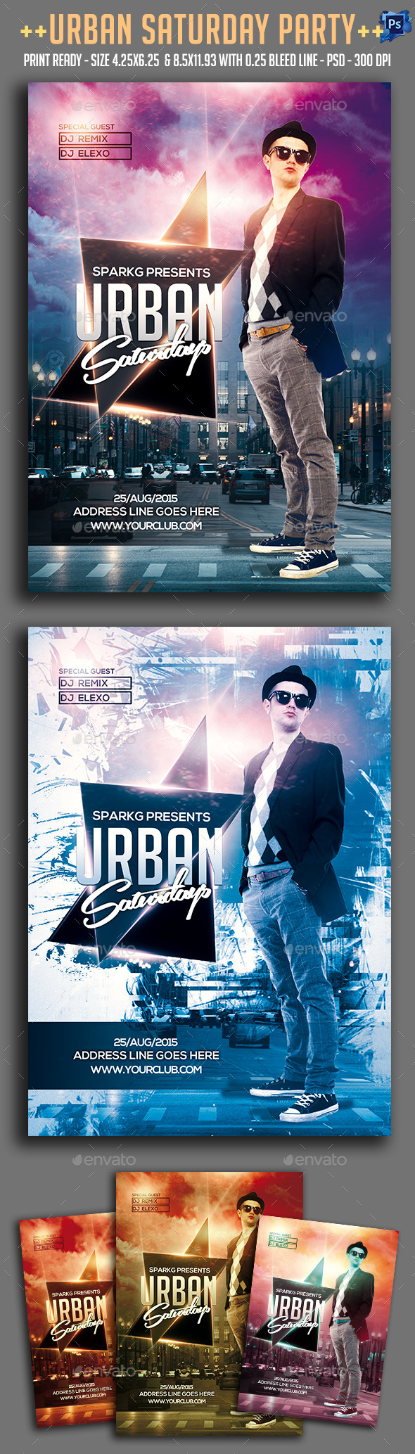 Urban Saturday Party Flyer  - Clubs & Parties Events