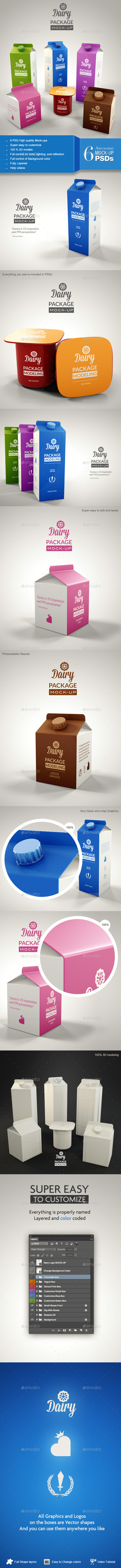Dairy Branding Package Mock-up - Product Mock-Ups Graphics