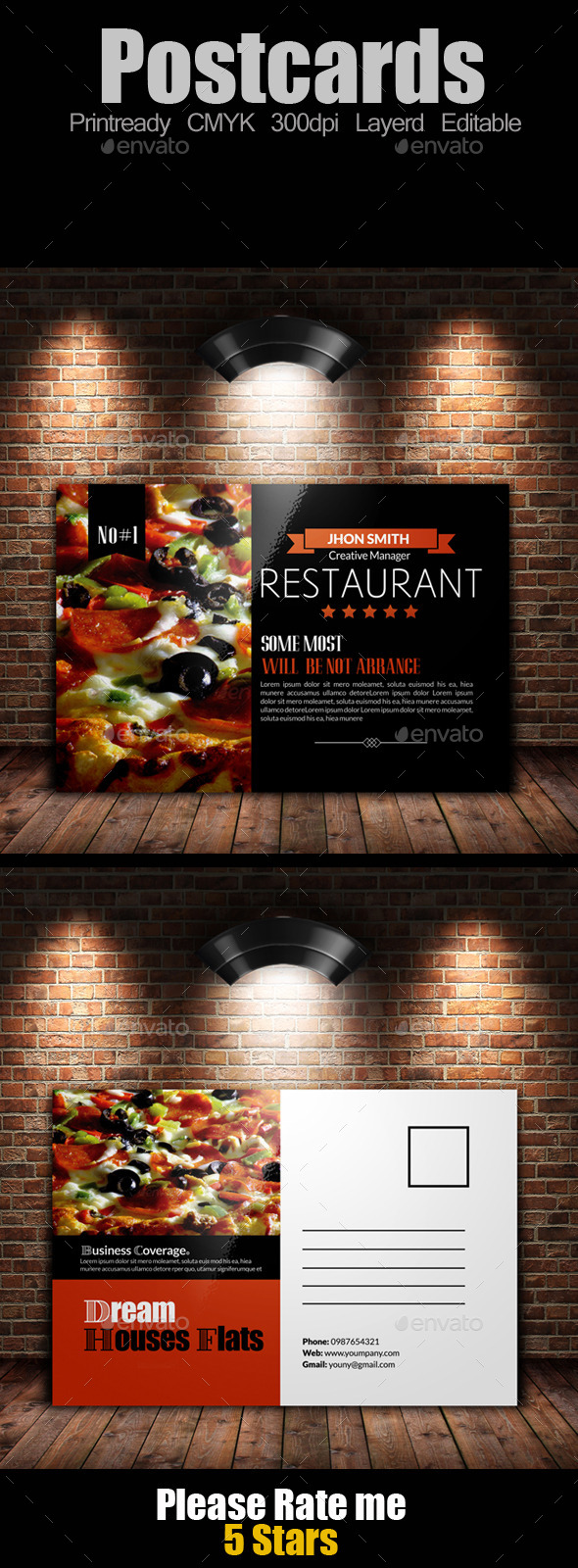 Restaurant Post Cards Template