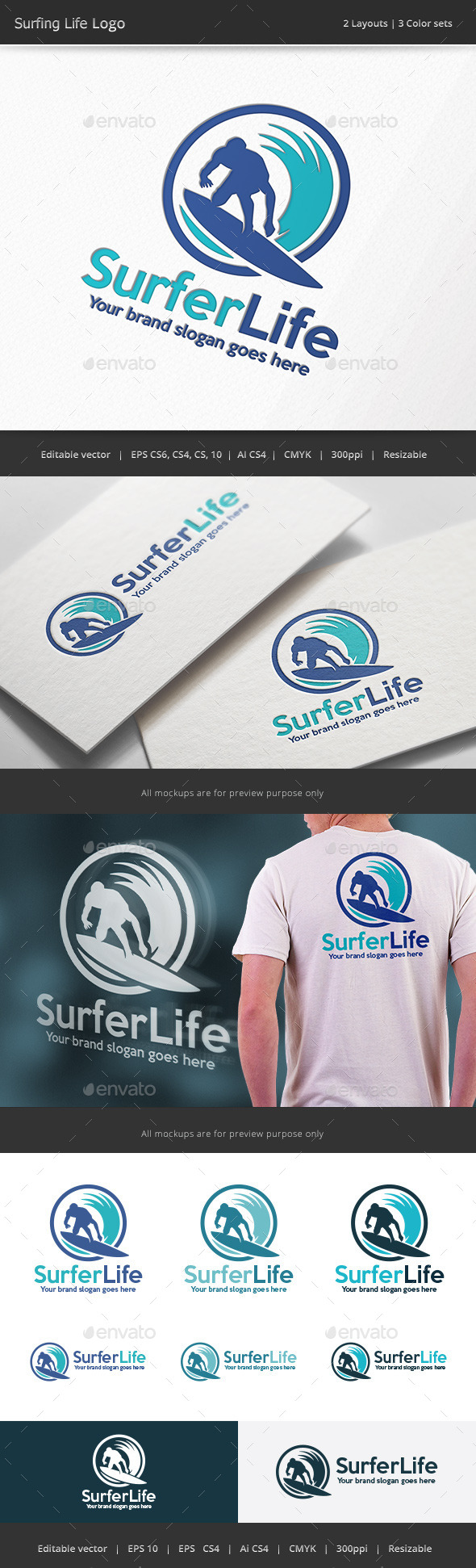 Surfing Life Logo - Humans Logo Templates