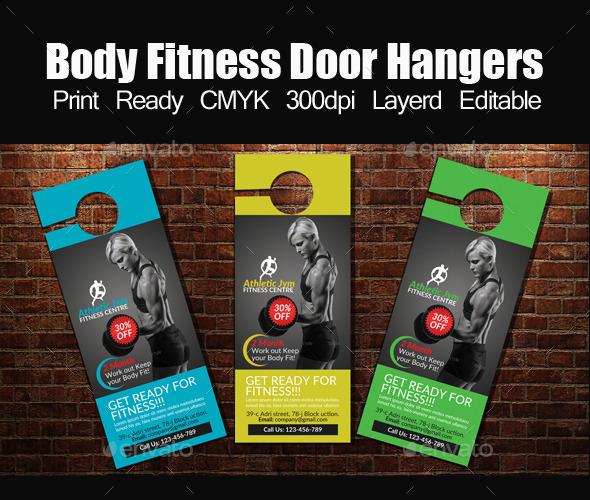 Body Fitness Door Hangers Template - Miscellaneous Events
