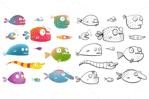 Cartoon fish collection for kids design by popmarleo for White river fish market menu