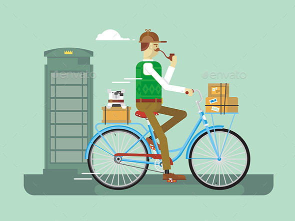 Retro Postman on a Bicycle - People Characters