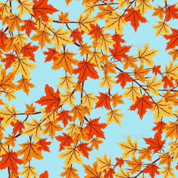 Autumn Leaves Seamless Pattern - Seasons Nature