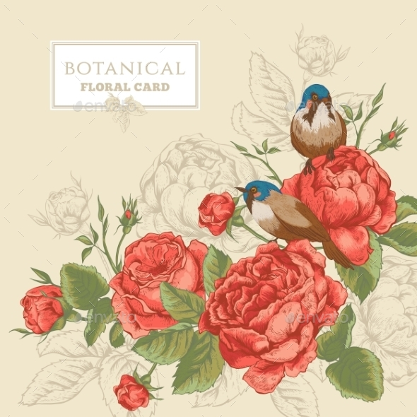 Botanical Floral Card with Roses and Birds - Flowers & Plants Nature