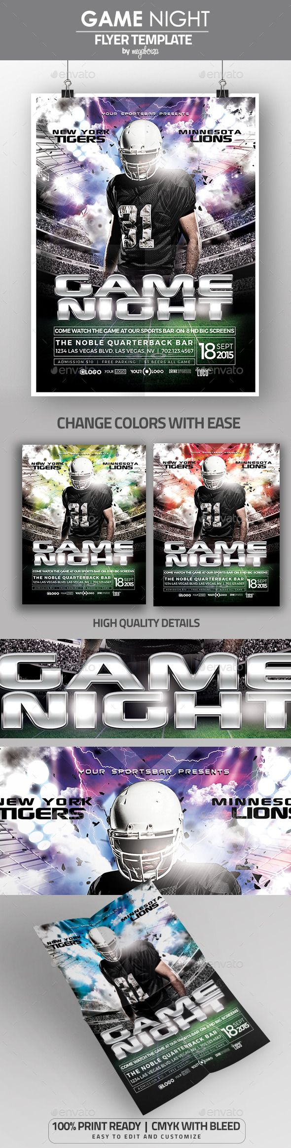 Game Night Football Flyer Poster Template