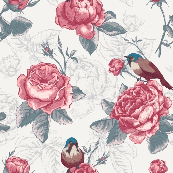 Botanical Floral Seamless Pattern with Roses - Patterns Decorative