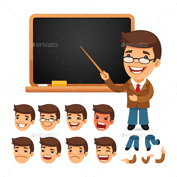 Set of Cartoon Teacher Character - People Characters