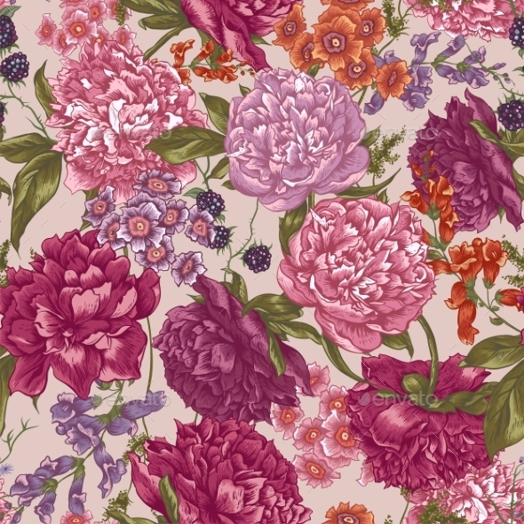Floral Seamless Pattern with Peonies - Patterns Decorative