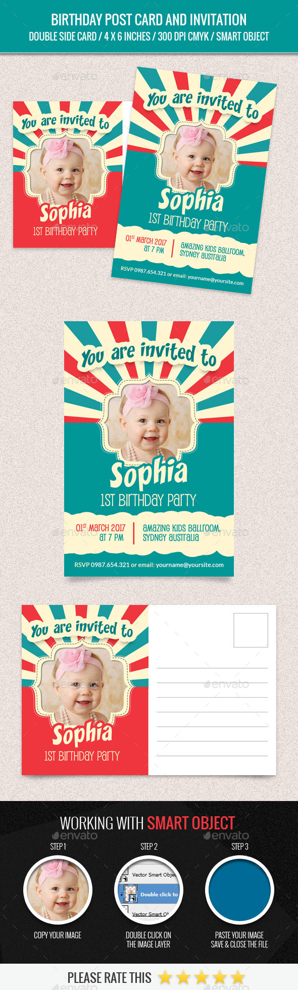 Birthday Post Card and Invitation Card Template - Birthday Greeting Cards