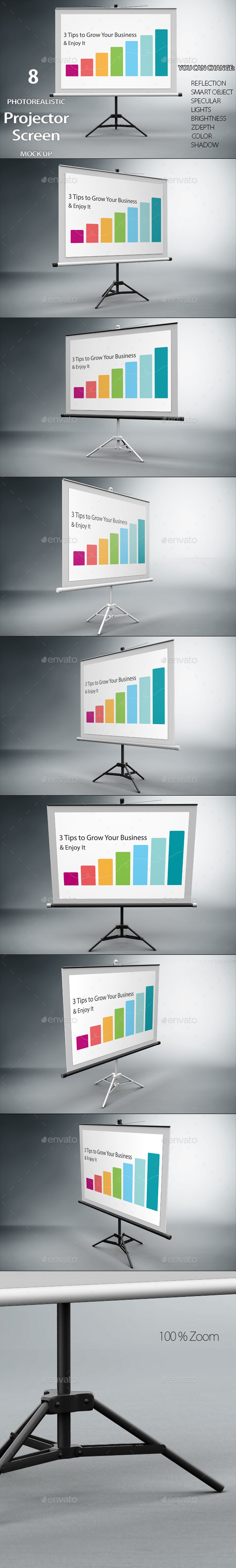 Projector Screen Mock Up - Product Mock-Ups Graphics