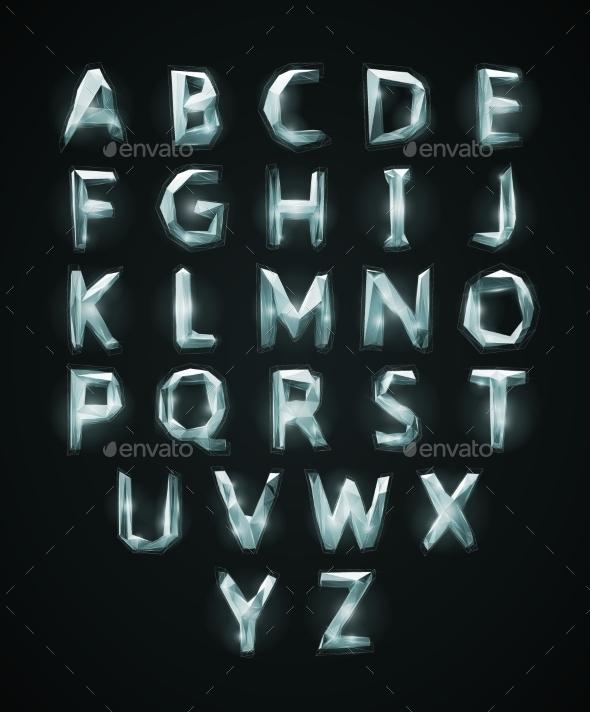 Low Poly Cristal Alphabet Font - Web Technology