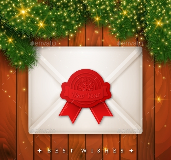 Christmas New Year Background with Envelope - New Year Seasons/Holidays