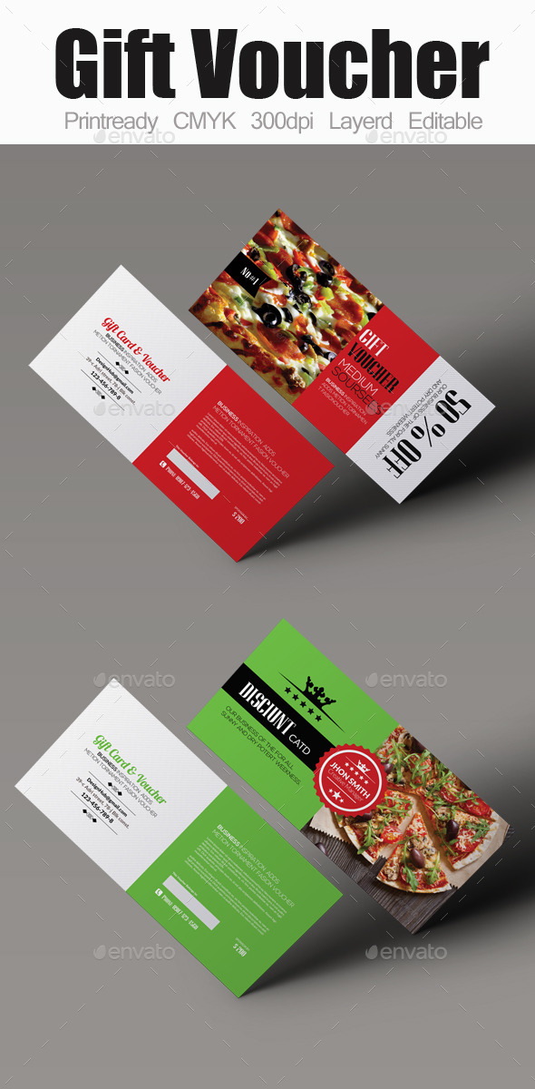 Food Gift Voucher Bundle - Cards & Invites Print Templates