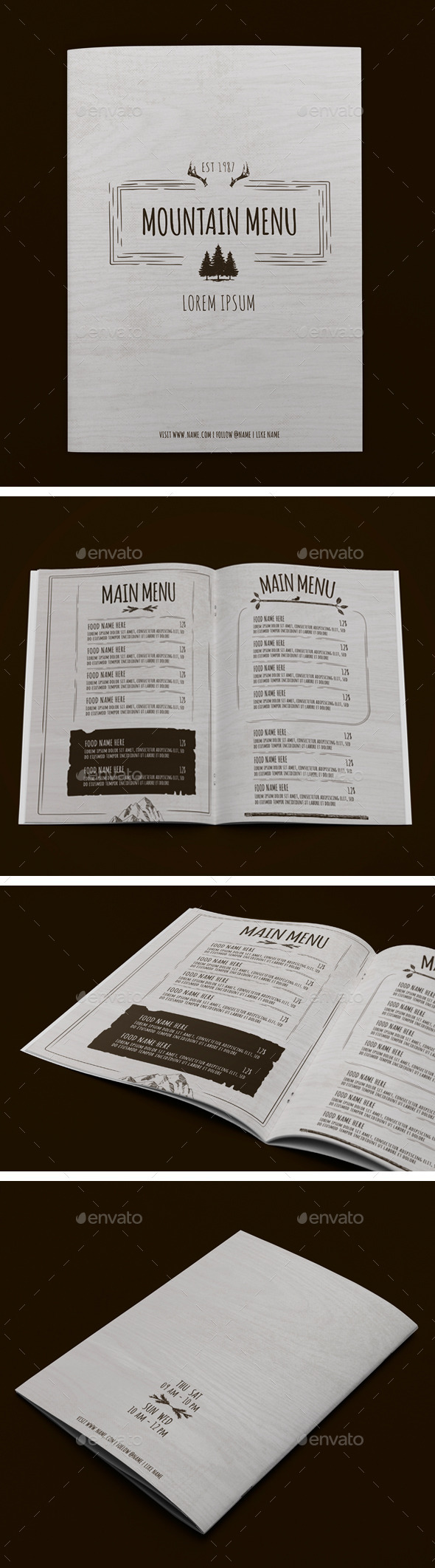 Mountain Menu - Food Menus Print Templates