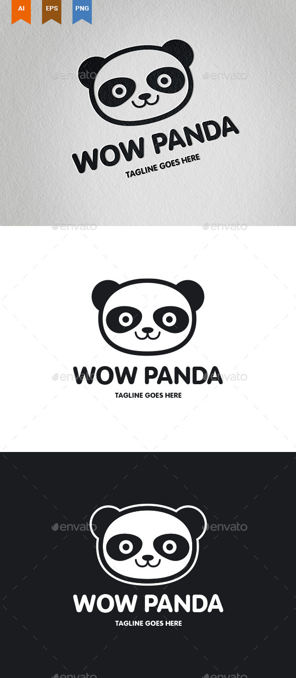 Wow Panda Logo - Animals Logo Templates