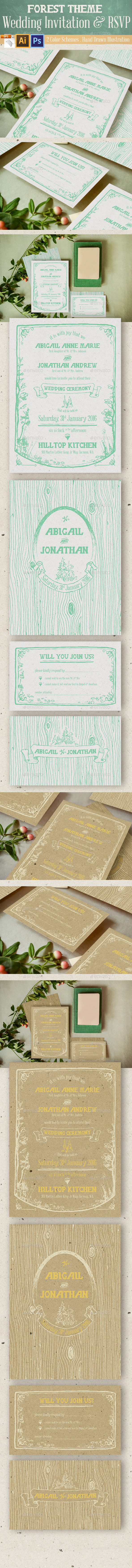 Forest Theme Wedding Invitation