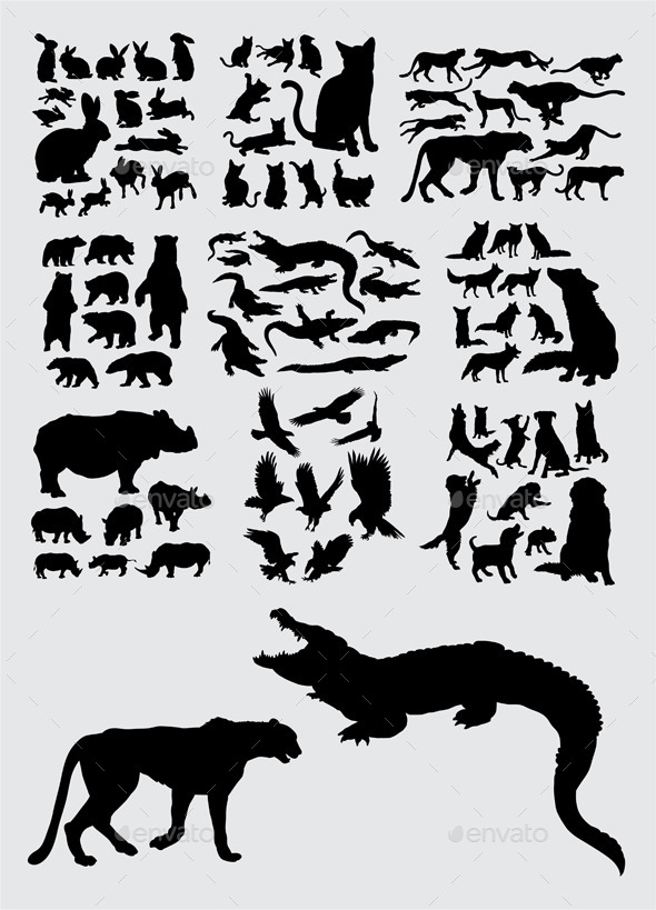 Pet and Wild Animal Silhouettes - Animals Characters