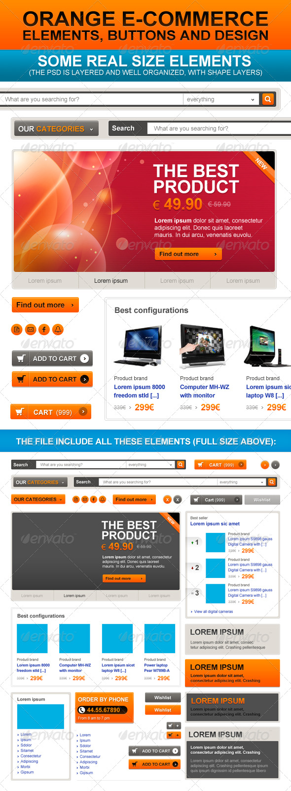 E-Commerce Orange Web Elements - Miscellaneous Web Elements