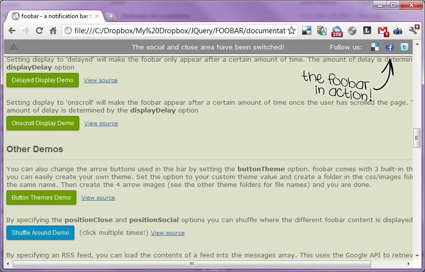 FooBar - A jQuery Notification Bar
