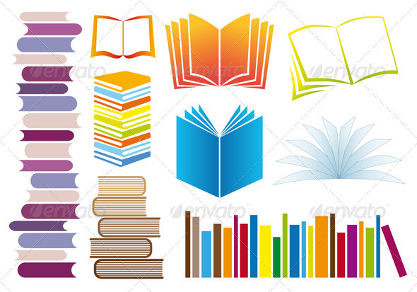 Set Of Vector Books - Man-made Objects Objects