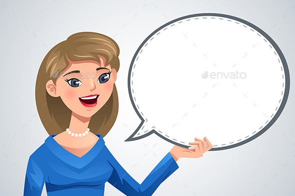 Woman with Blank Text Bubble - People Characters