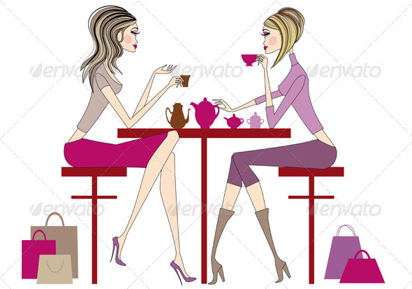 Women Drinking Coffee And Tea - People Characters