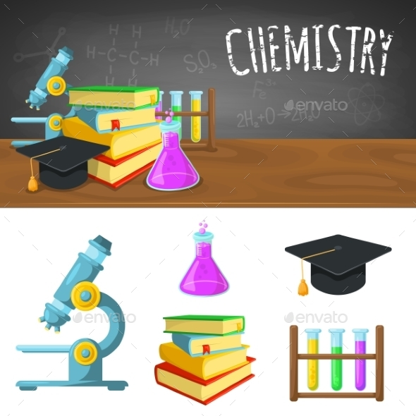 Chemistry Backdrop And Icons. - Backgrounds Decorative