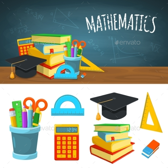 Math Backdrop And Icons. - Backgrounds Decorative