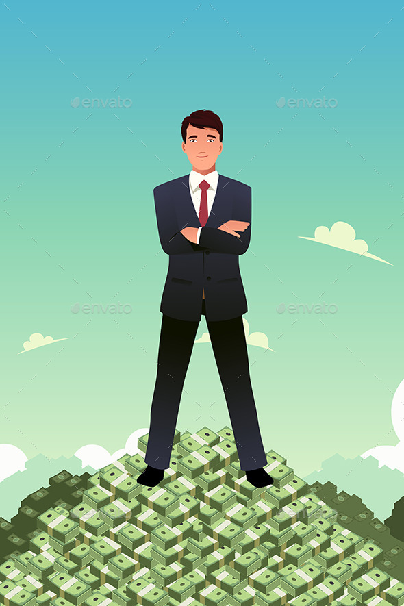 Businessman Standing on Top of Pile of Money - Concepts Business