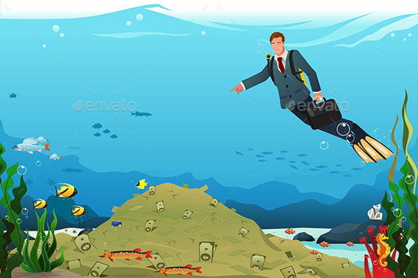 Businessman Swimming Searching for Money - Concepts Business
