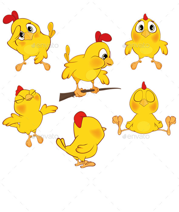 Yellow Chickens  - Animals Characters