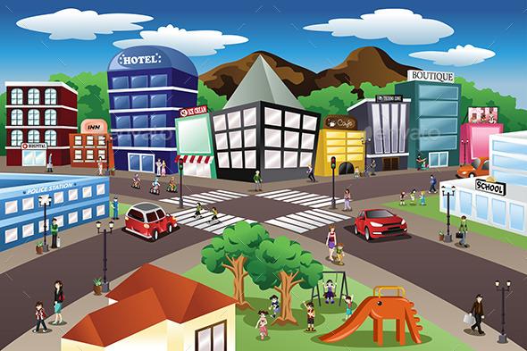 City Scene - Buildings Objects