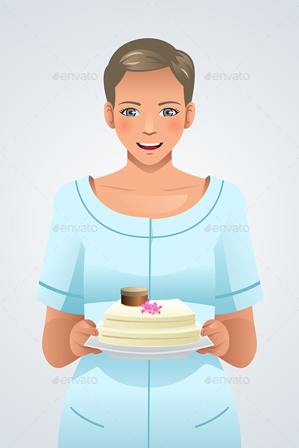 Woman Holding a Plate of Cake - People Characters