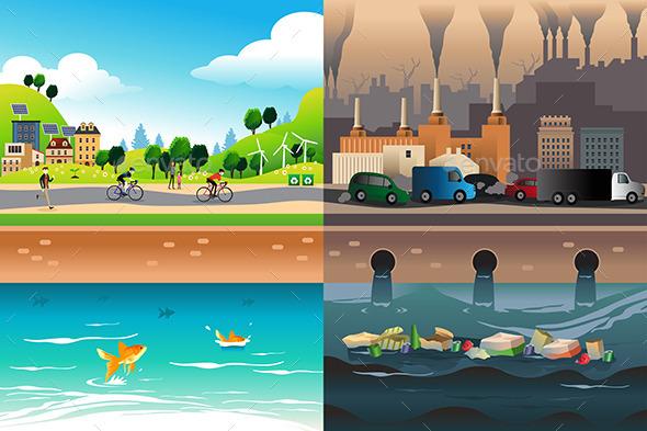 Healthy City Versus Polluted City - Conceptual Vectors