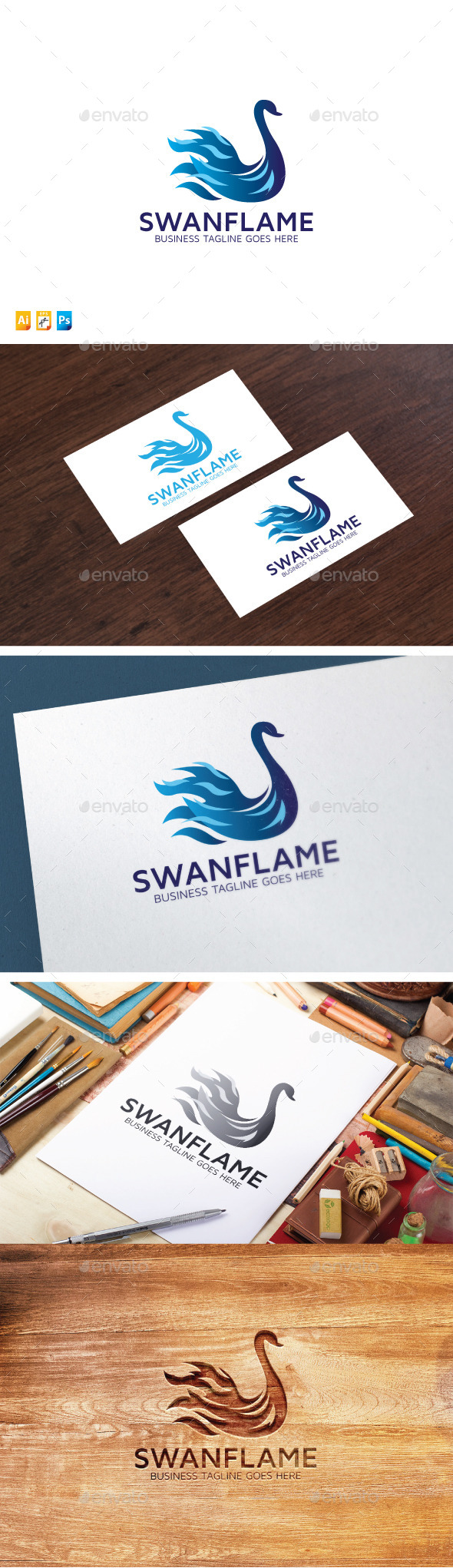 Swan Flame Logo - Animals Logo Templates