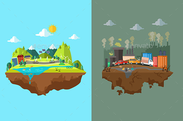 Comparison of Clean City and Polluted City - Conceptual Vectors