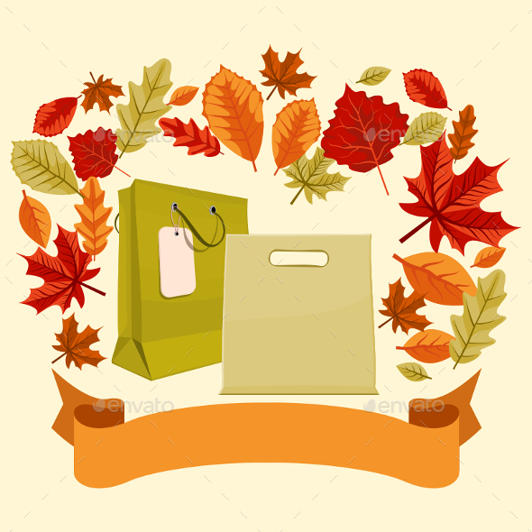 Autumn Shopping Bags and Ribbon - Commercial / Shopping Conceptual
