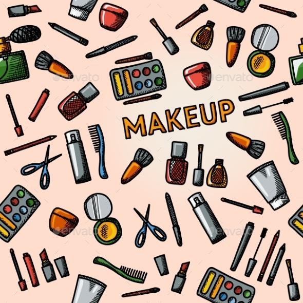 Color Hand Drawn Makeup Pattern - Mascara, Polish - Patterns Decorative