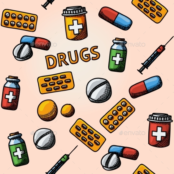 Seamless Drugs, Pills Handdrawn Pattern With - Box - Patterns Decorative