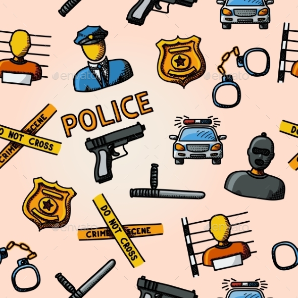 Color Hand Drawn Police Pattern Gun Car Crime