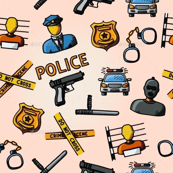 Color Hand Drawn Police Pattern - Gun, Car, Crime - Patterns Decorative
