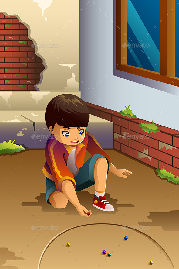 Boy Playing Marbles - People Characters