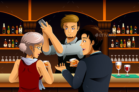 Couple in a Bar with Bartender
