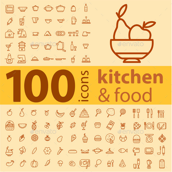 Set of 100 Kitchen Icons. - Food Objects