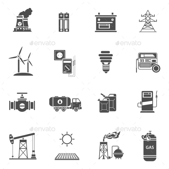 Energy Power Black Icons Set  - Technology Icons
