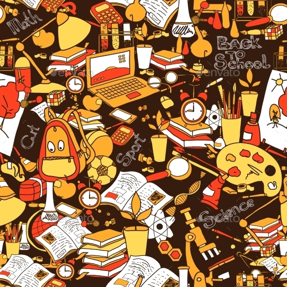 School Seamless Pattern - Backgrounds Decorative