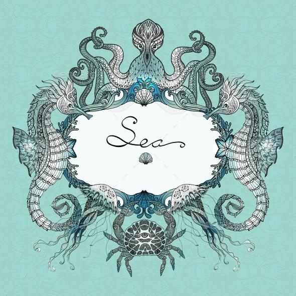 Sea Life Doodle Illustration